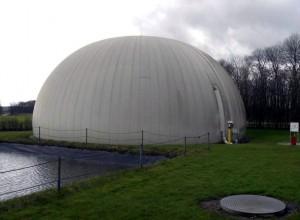 Réservoir de biogaz à la centrale Linkogas à Lintrup au Danemark