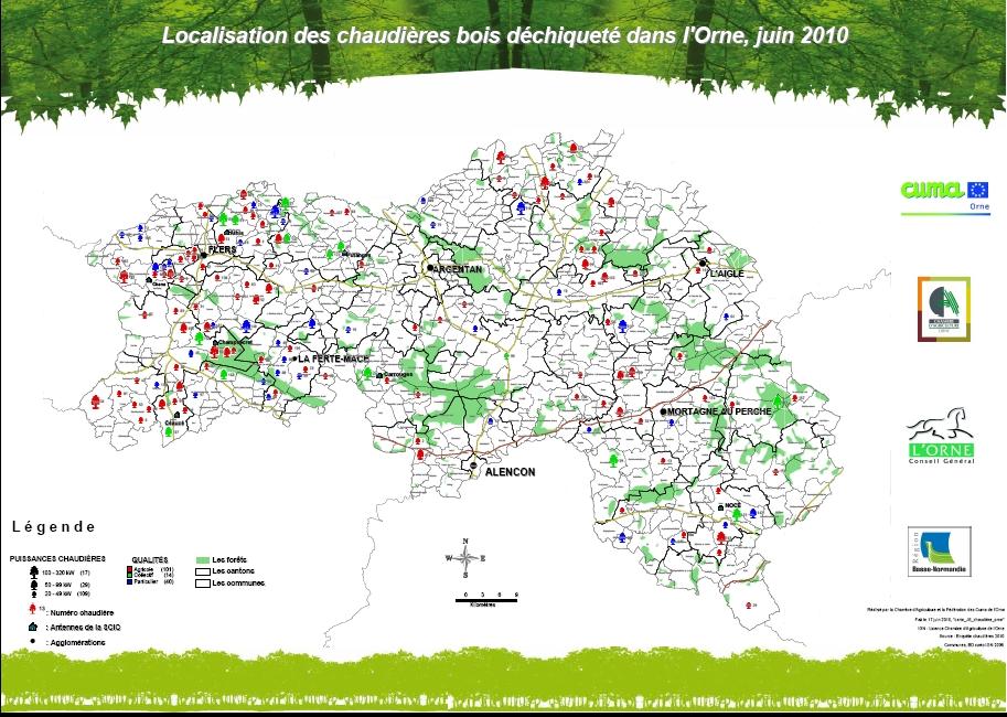 Carte des chaudi res bois d chiquet dans l orne - Chambre agriculture orne ...