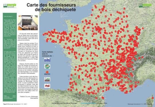 Carte Bioénergie International des fournisseurs de plaquettes en France, Wallonie et Romandie