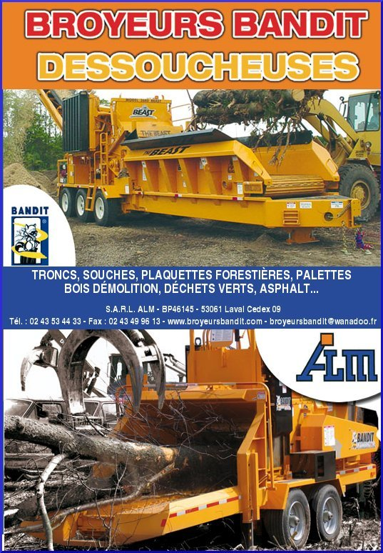ALM, broyeurs BANDIT pour plaquettes forestières