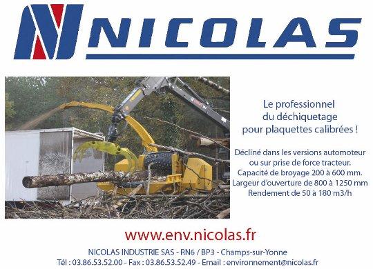 Nicolas Industrie, professionnel du déchiquetage pour plaquettes calibrées