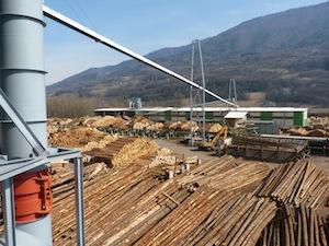 Le convoyeur de bois Vecoplan de la scierie Bois du Dauphiné à la centrale Alpes Energie Bois, photo Frédéric Douard