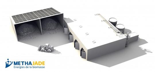 Schéma de l'installation de méthanisation en voie sèche discontinue, source Méthajade