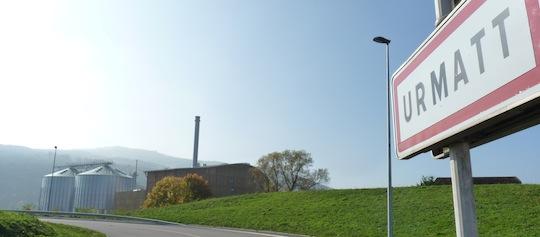 Vue sur la centrale de cogénération à l'entrée de la scierie Siat-Braun, photo Frédéric Douard