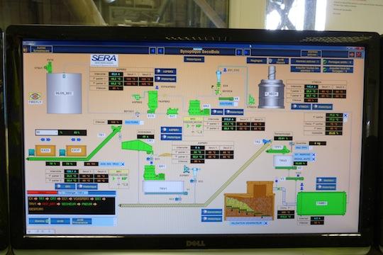 Ecran de commande de l'usine de l'intégrateur SERA-GPI
