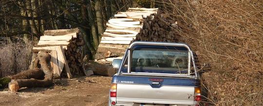 Chantier de façonnage de bois-bûches en forêt, photo Frédéric Douard