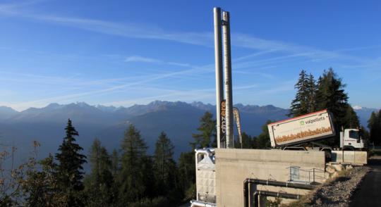 Chaufferie à granulés de bois de Anzère dans le Valais, photo CBA