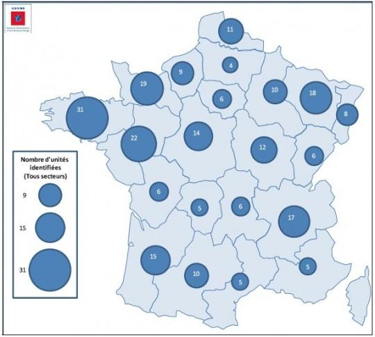 Répartition régionale des projets biogaz, ADEME