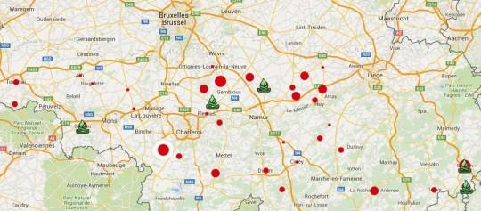 Carte interactive du miscanthus en Wallonie - Cliquer sur l'image pour accéder au site en ligne.