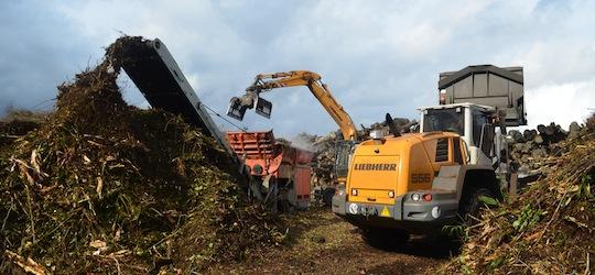 Broyage de déchets verts sur la plateforme CVE de Chalifert, photo Frédéric Douard