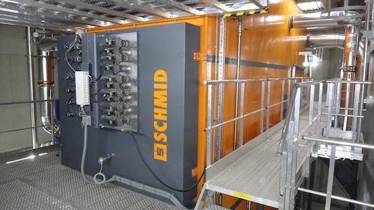 L'échangeur et ses ramoneurs automatiques, photo Schmid