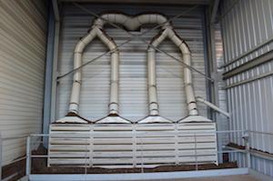 Système d'aspiration des fines au dessus des fosses de livraison, photo Frédéric Douard