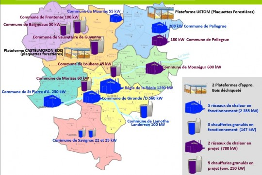 Cartes des réalisations et projets à la fin 2013 - Cliquer pour agrandir
