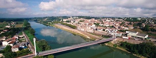 La Réole, vue aerienne du pont web