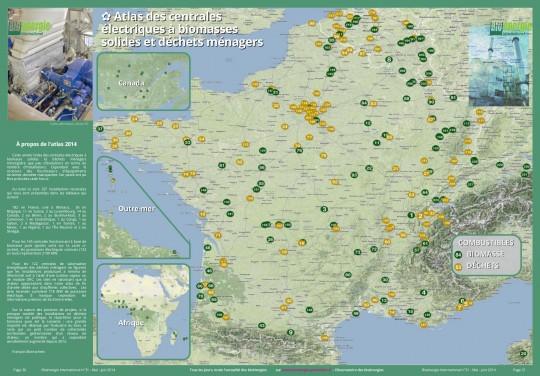 Atlas 2014 des centrales électriques à biomasse solide ou déchets ménagers francophones - Cliquer pour agrandir