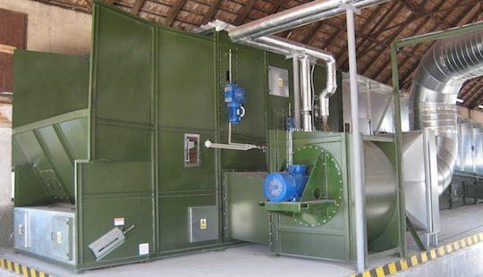 Séchoir en continue alimenté par la chaleur d'une cogénération biogaz, photo Alvan Blanch