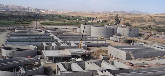 Station d'épuration des eaux de Fès en construction, photo C2oda