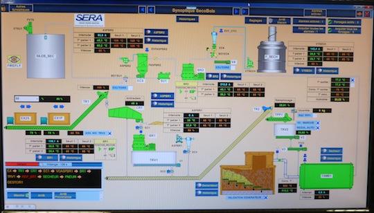 Synoptique du logiciel AltéSOFT Bioenergie chez Secobois, photo Frédéric Douard
