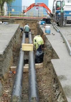 Construction du réseau de chaleur de Brézillet en 2013