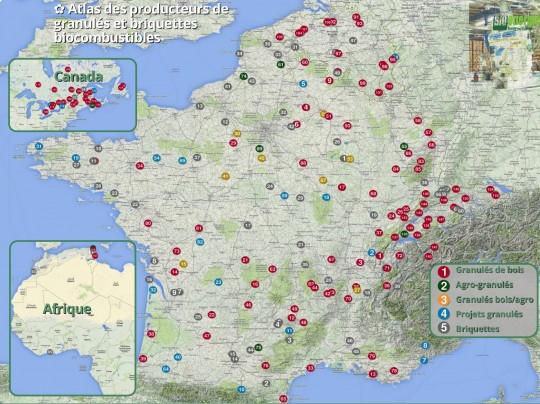 Atlas des producteurs de briquettes et granulés - Cliquer pour agrandir