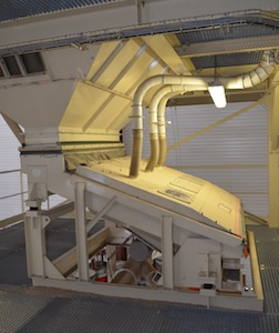 Le refroidisseur de granulés Promill en sortie de presses, photo Frédéric Douard