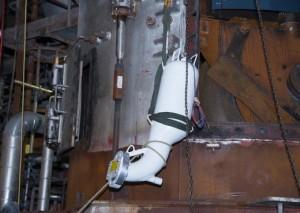 Montage d'un injecteur de bicarbonate de sodium anti-explosion sur un brûleur, photo MEDTE
