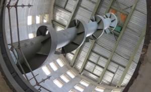 Vue de l'intérieur d'un silo avec sa spirale de chute, photo OPG