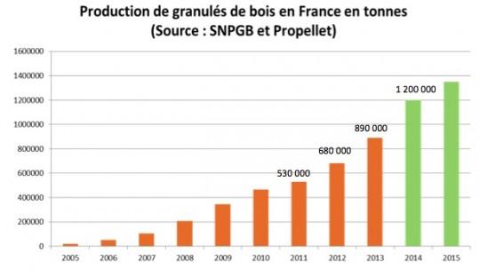 Evolution de la production de granulés de bois en France  - Cliquer pour agrandir.