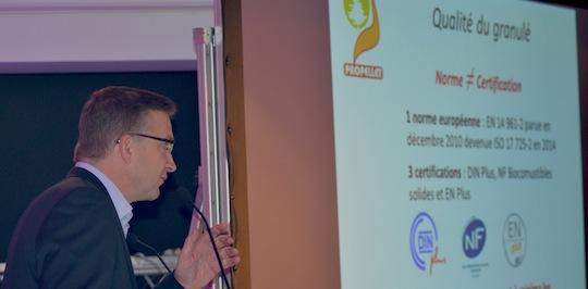 Eric Vial, directeur de Propellet France, rapelle la convergence des 3 certifications, photo Frédéric Douard