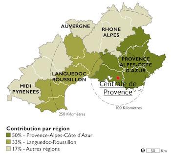 Origine prévisionnelle du bois forestier régional, source E.On