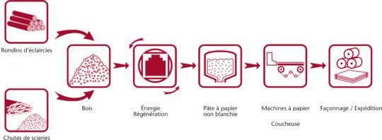 Processus de fabrication du papier Kraft, schéma Gascogne Paper - Cliquer sur l'image pour l'agrandir.