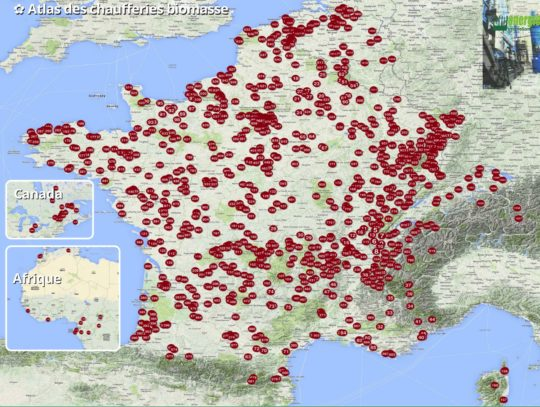 Carte de l'atlas des chaufferies à biomasse solide - Cliquer pour agrandir.