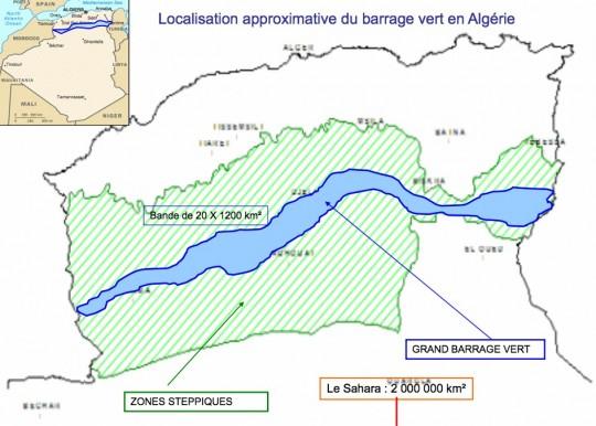 Carte du barrage vert algérien, Ali Dakiche, Université de Oran