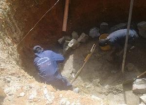 Creusement de la fosse du digesteur de Maseno