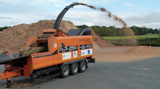 Déchiquetage sur plateforme, photo Biocombustibles SAS