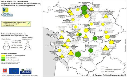 Carte des projets en fonctionnement ou en développement en Poitou-Charentes en mars 2015 - Cliquer pour agrandir.