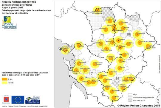 Zones géographiques ciblées par l'appel à projets 2015 - Cliquer pour agrandir.