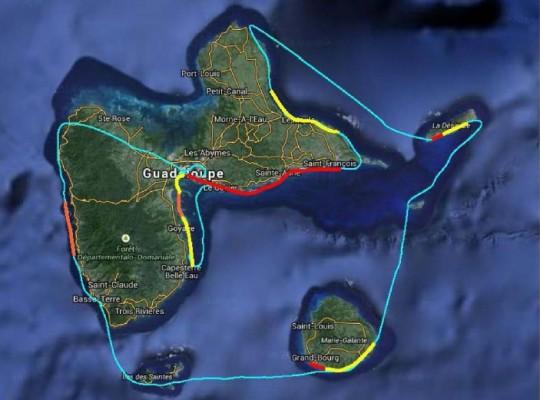 Côtes de l'Archipel de Guadeloupe touchées par l'échouage des sargasses le 28 avril 2015, Source DEAL, Franck MAZEAS