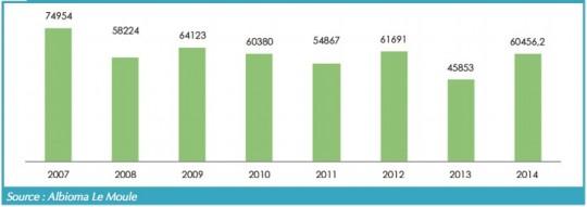 Production électrique à partir de bagasse depuis 2007 en MWh