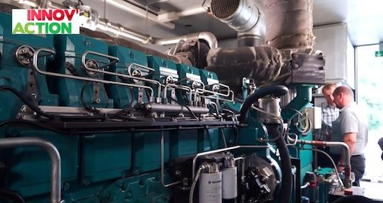 Le moteur de cogénération de Jean-Frédéric Fritsch, photo Chambre d'agriculture d'Alsace