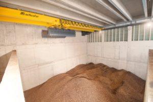 Le silo à bois de la nouvelle chaufferie de Speicher & Trogen, photo Schmid