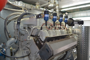 Le moteur de cogénération de la SAS Clottes Biogaz, photo Frédéric Douard