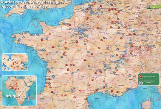 Atlas 2015 des centrales électriques à biocombustibles solides dans la Francophonie. Cliquer sur l'image pour l'agrandir.