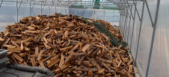 Séchage de bois de chauffage sous serre avec la chaleur de cogénération, photo Frédéric Douard