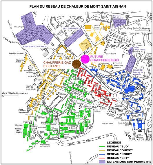 Plan du réseau de chaleur de Mont-Saint-Aignan
