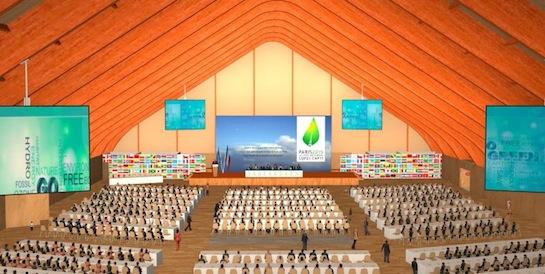 Salle plénière de la COP 21 au Bourget, photo SGCOP21