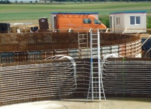 Construction de cuves traditionnelles en béton, photo Bio-Dynamics