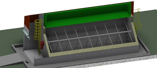 Vue en coupe du digesteur piston compact en Kit modulable de Methaniseur.com