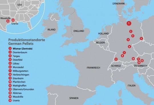 Les 15 sites de production de German Pellets
