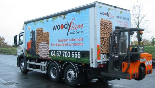 Plateau avec chariot embarqué pour la société Woodyflam, photo Transmanut